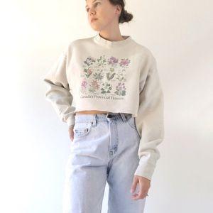 Cropped Beige Grandma Sweatshirt